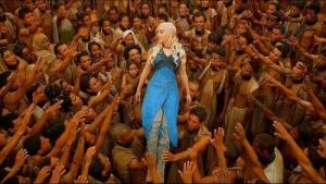 Khaleesi crowdsurfing